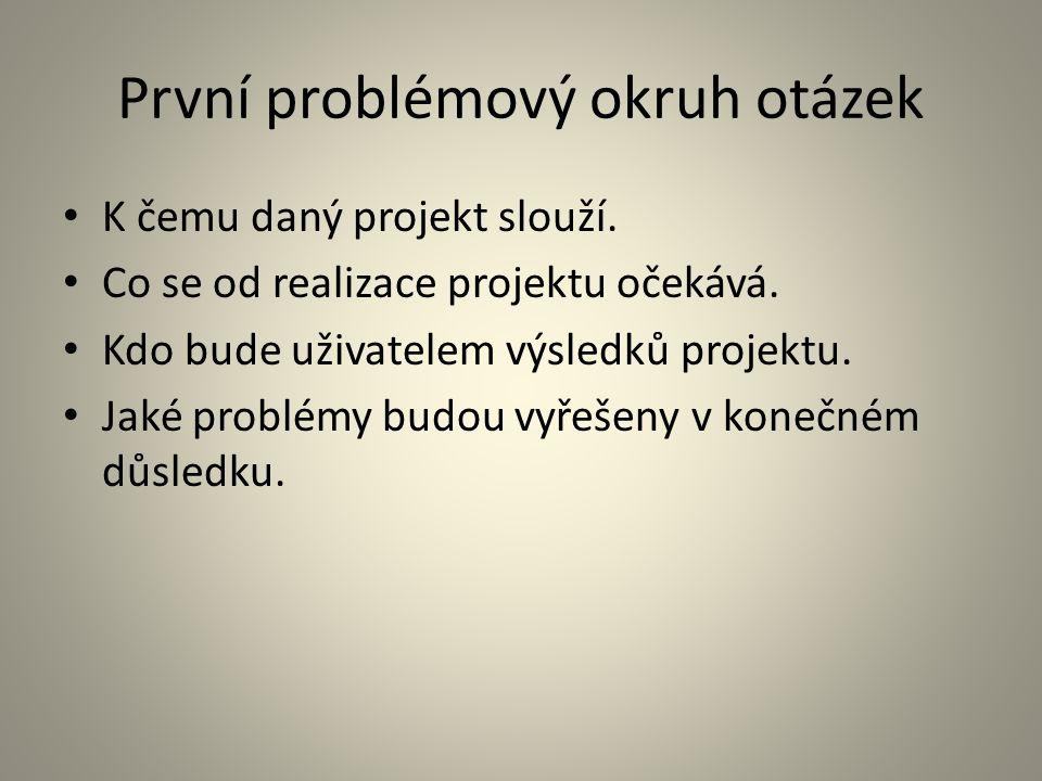 První problémový okruh otázek K čemu daný projekt slouží. Co se od realizace projektu očekává. Kdo bude uživatelem výsledků projektu. Jaké problémy bu