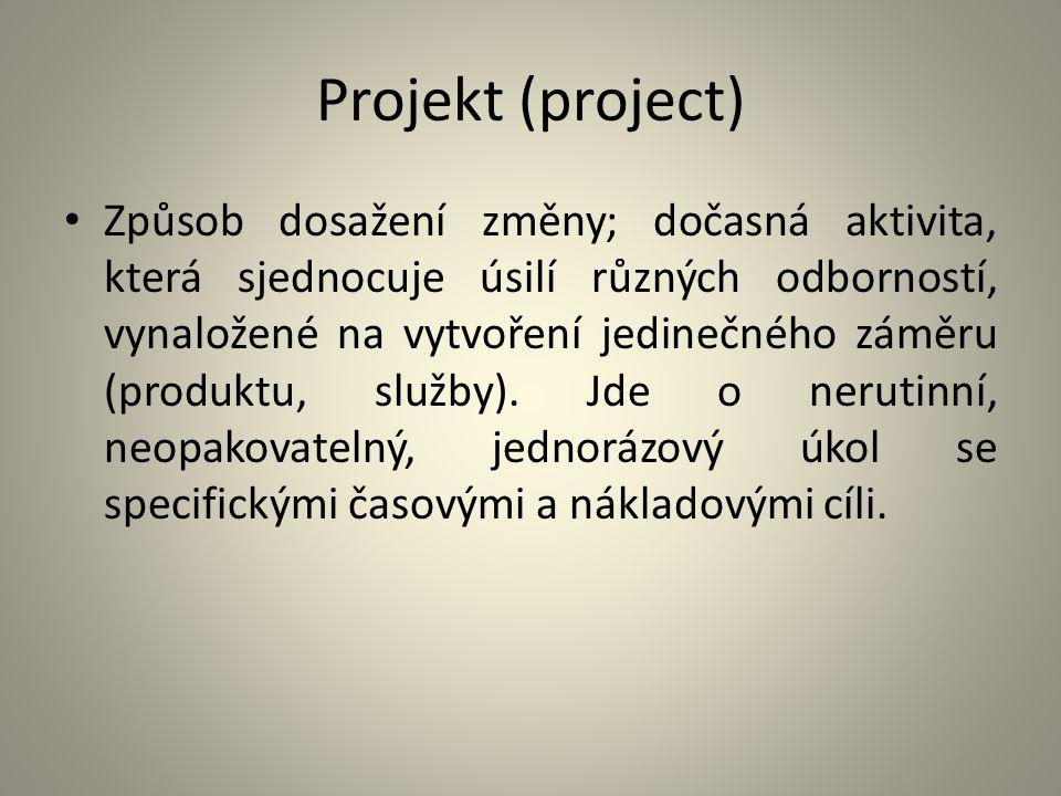 Projekt (project) Způsob dosažení změny; dočasná aktivita, která sjednocuje úsilí různých odborností, vynaložené na vytvoření jedinečného záměru (prod