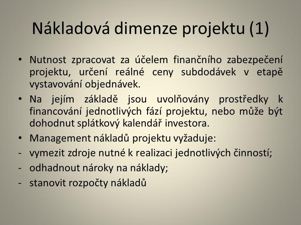 Nákladová dimenze projektu (1) Nutnost zpracovat za účelem finančního zabezpečení projektu, určení reálné ceny subdodávek v etapě vystavování objednáv