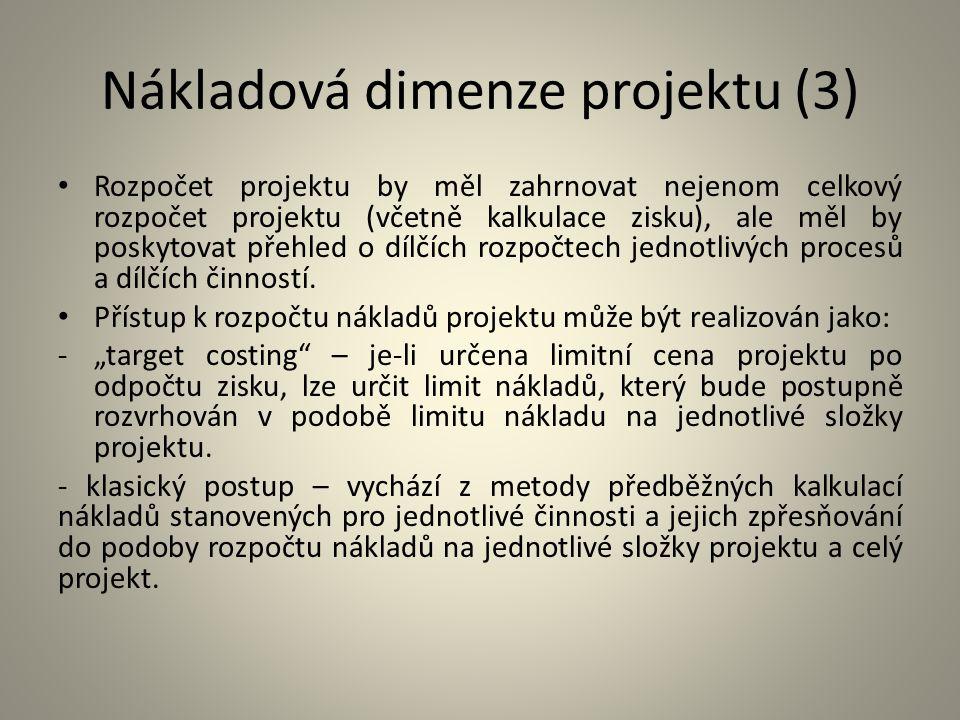 Nákladová dimenze projektu (3) Rozpočet projektu by měl zahrnovat nejenom celkový rozpočet projektu (včetně kalkulace zisku), ale měl by poskytovat př
