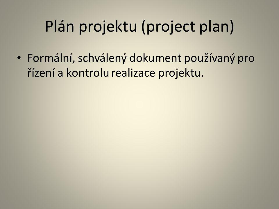 Plán projektu (project plan) Formální, schválený dokument používaný pro řízení a kontrolu realizace projektu.