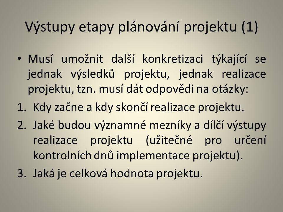 Výstupy etapy plánování projektu (1) Musí umožnit další konkretizaci týkající se jednak výsledků projektu, jednak realizace projektu, tzn. musí dát od