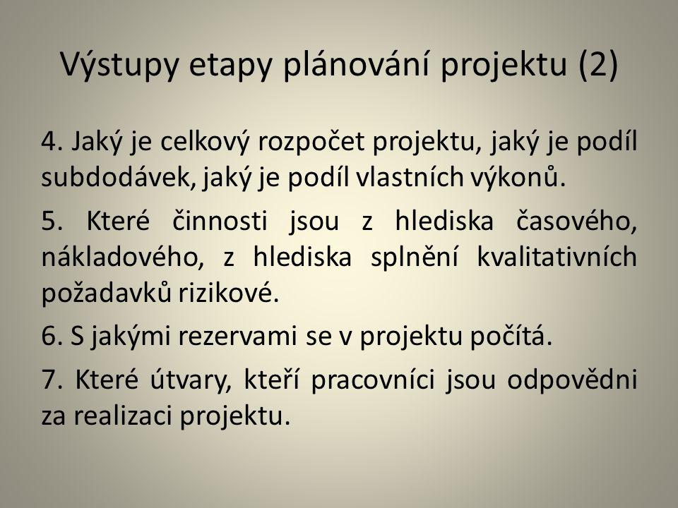 Výstupy etapy plánování projektu (2) 4. Jaký je celkový rozpočet projektu, jaký je podíl subdodávek, jaký je podíl vlastních výkonů. 5. Které činnosti