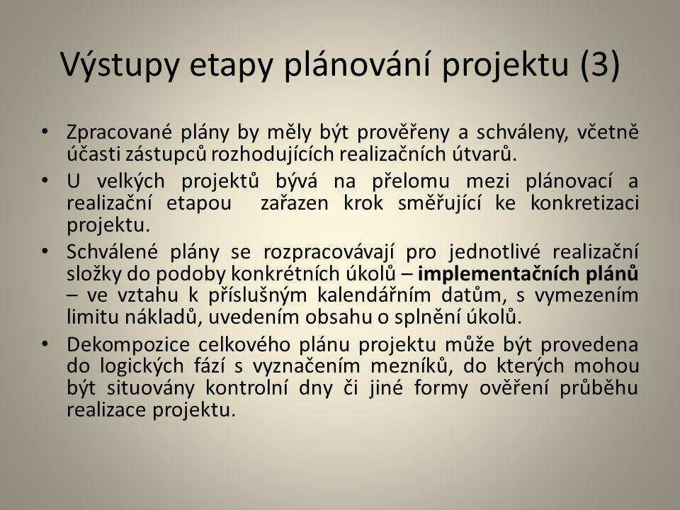 Výstupy etapy plánování projektu (3) Zpracované plány by měly být prověřeny a schváleny, včetně účasti zástupců rozhodujících realizačních útvarů. U v