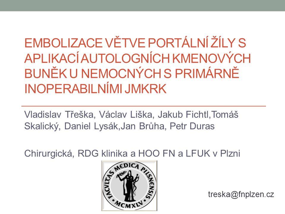 Resekabilita JMKRK Multimodální léčba = optimální léčba JMKRK Jaterní resekce = jediná radikální metoda 25 % JMKRK primárně neresekabilní Hlavní příčina neresekability = malý FLRV Spolverato G et al., WJGO 2013