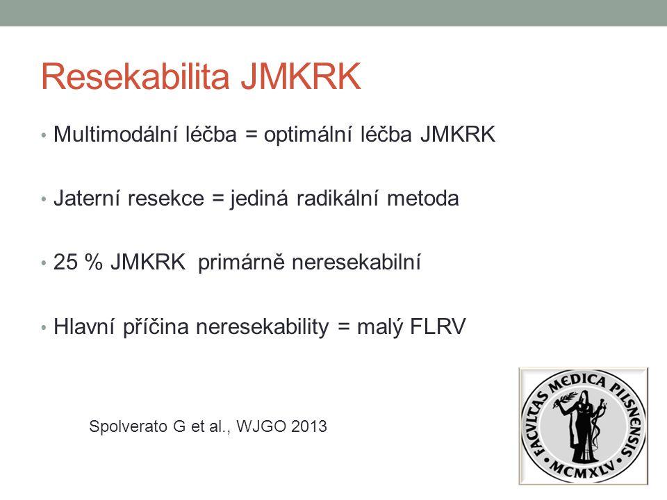Resekabilita JMKRK Multimodální léčba = optimální léčba JMKRK Jaterní resekce = jediná radikální metoda 25 % JMKRK primárně neresekabilní Hlavní příči