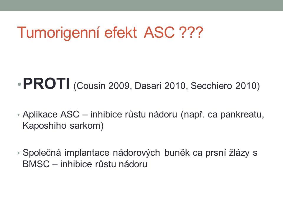 Tumorigenní efekt ASC ??? PROTI (Cousin 2009, Dasari 2010, Secchiero 2010) Aplikace ASC – inhibice růstu nádoru (např. ca pankreatu, Kaposhiho sarkom)