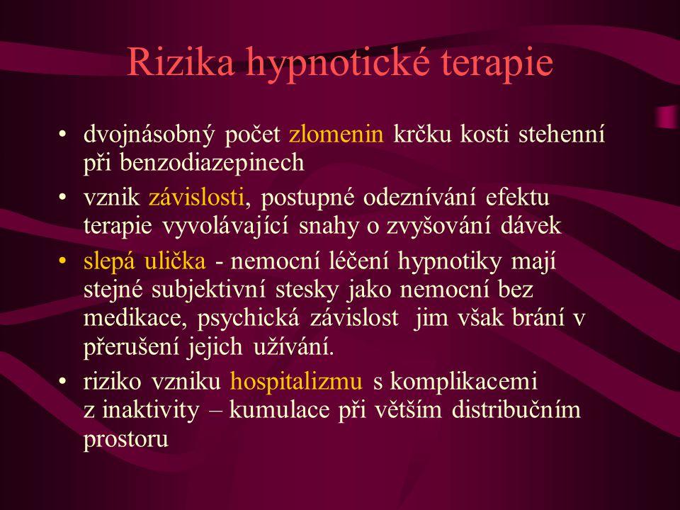 Rizika hypnotické terapie dvojnásobný počet zlomenin krčku kosti stehenní při benzodiazepinech vznik závislosti, postupné odeznívání efektu terapie vy