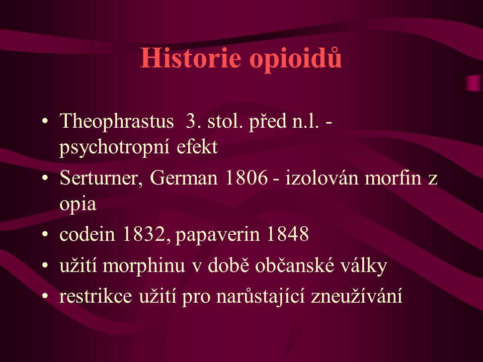 Historie opioidů Theophrastus 3. stol. před n.l. - psychotropní efekt Serturner, German 1806 - izolován morfin z opia codein 1832, papaverin 1848 užit