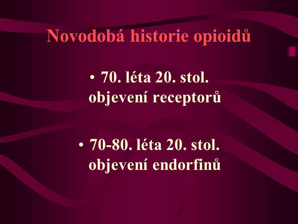 Novodobá historie opioidů 70. léta 20. stol. objevení receptorů 70-80. léta 20. stol. objevení endorfinů