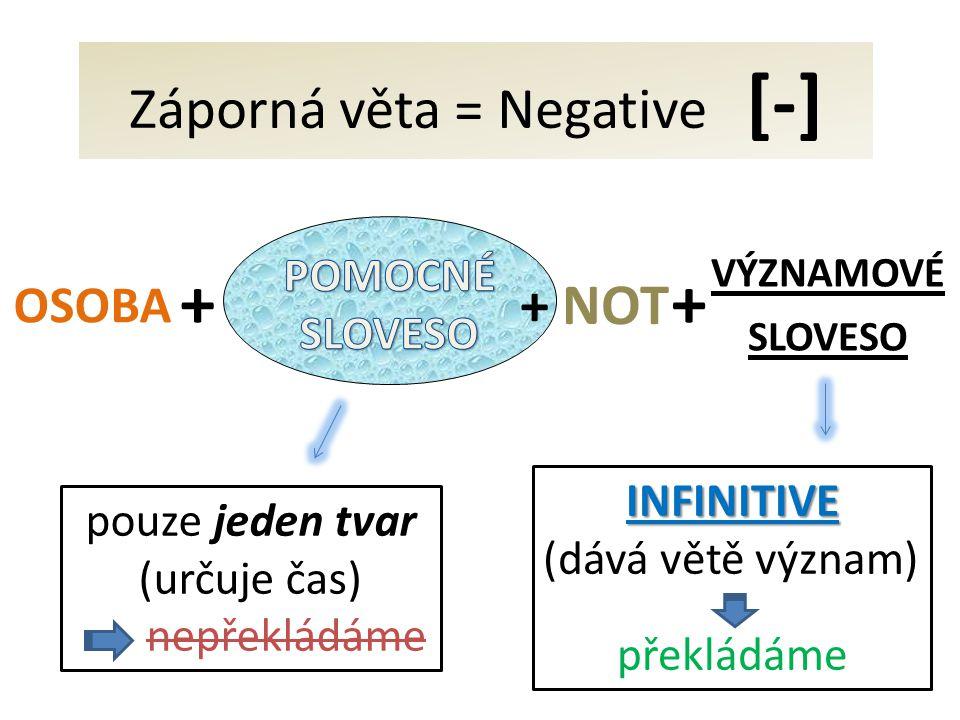VÝZNAMOVÉ SLOVESO + OSOBA + INFINITIVE (dává větě význam) překládáme pouze jeden tvar (určuje čas) nepřekládáme Záporná věta = Negative [-] + NOT