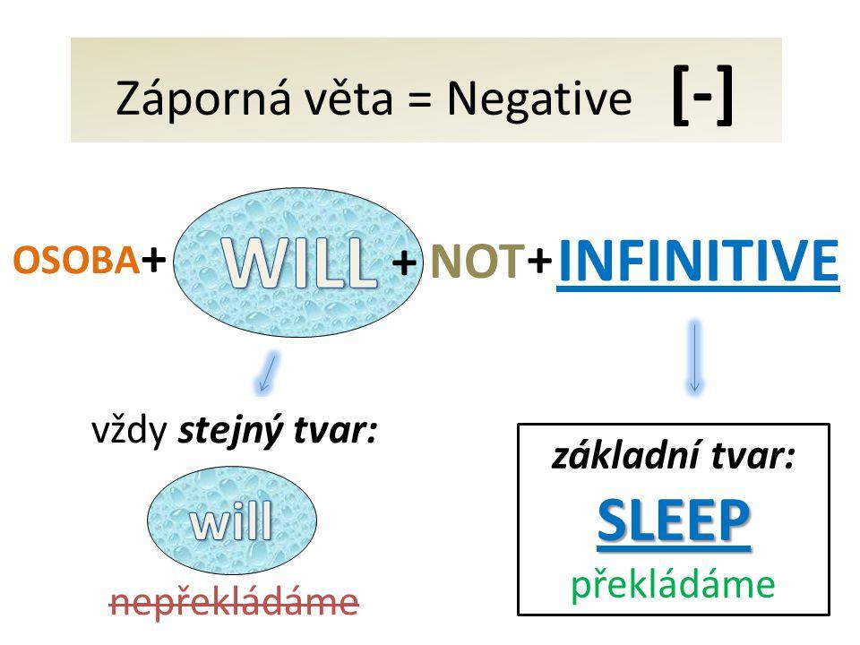 Záporná věta = Negative [-] INFINITIVE + + NOT OSOBA vždy stejný tvar: nepřekládáme základní tvar:SLEEP překládáme +