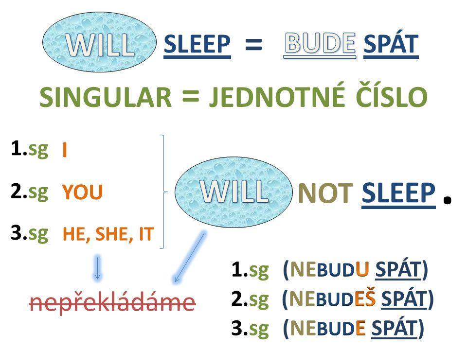 SLEEP NOT I HE, SHE, IT YOU 2.sg nepřekládáme 1.sg 3.sg 1.sg 3.sg 2.sg SINGULAR = JEDNOTNÉ ČÍSLO. SLEEP =