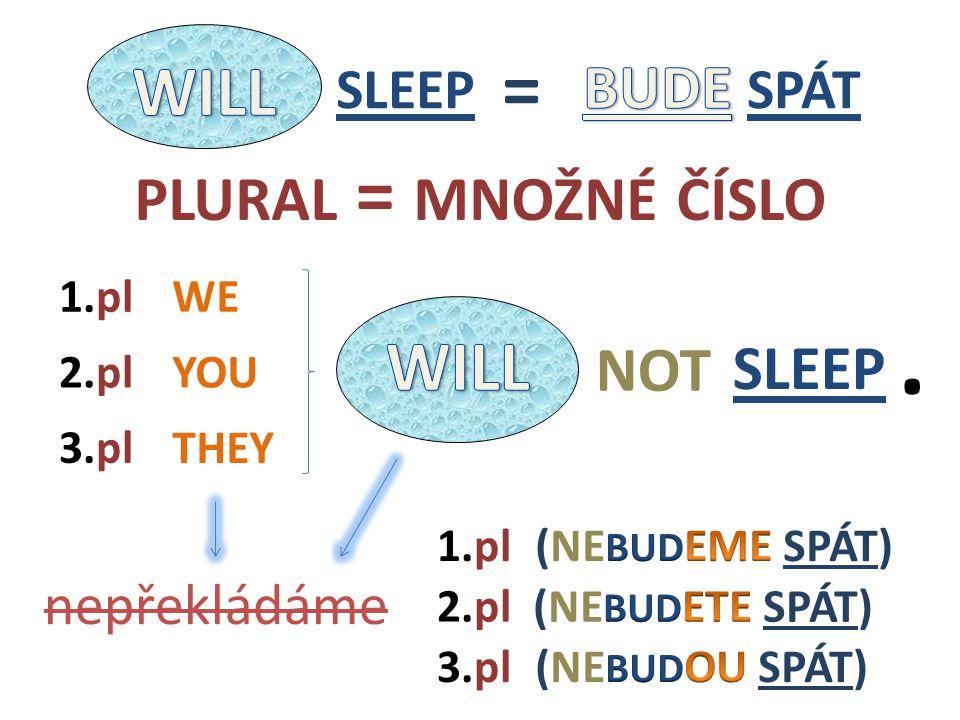 WE THEY YOU2.pl nepřekládáme 1.pl 3.pl 1.pl 3.pl 2.pl PLURAL = MNOŽNÉ ČÍSLO SLEEP NOT. SLEEP =