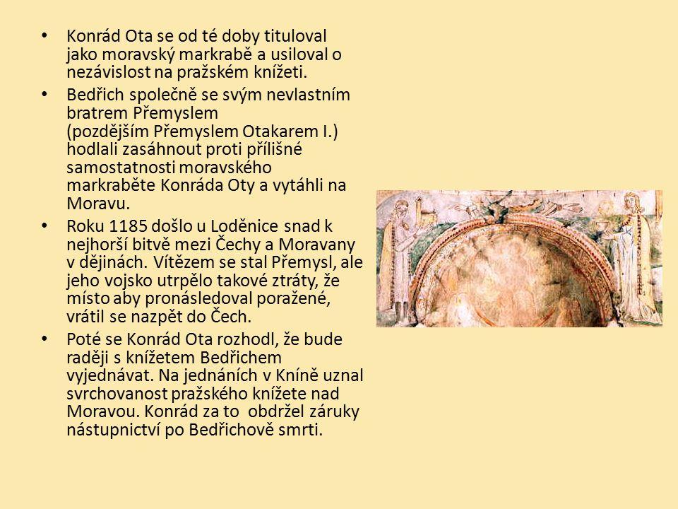 Konrád Ota se od té doby tituloval jako moravský markrabě a usiloval o nezávislost na pražském knížeti. Bedřich společně se svým nevlastním bratrem Př