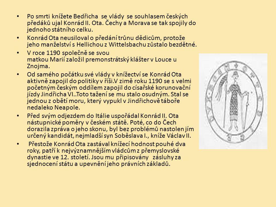 Po smrti knížete Bedřicha se vlády se souhlasem českých předáků ujal Konrád II. Ota. Čechy a Morava se tak spojily do jednoho státního celku. Konrád O
