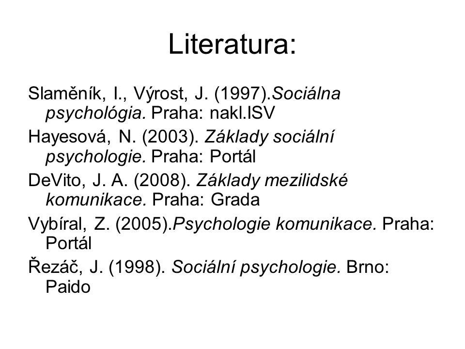 Literatura: Slaměník, I., Výrost, J. (1997).Sociálna psychológia.