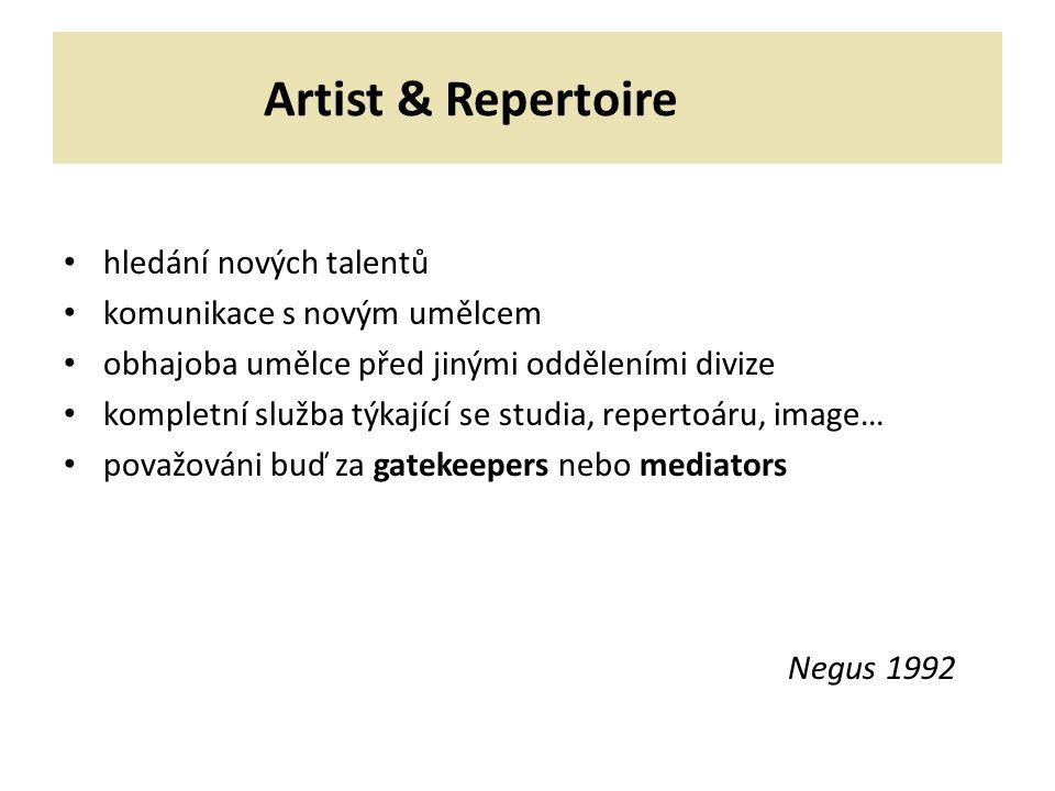 Artist & Repertoire hledání nových talentů komunikace s novým umělcem obhajoba umělce před jinými odděleními divize kompletní služba týkající se studia, repertoáru, image… považováni buď za gatekeepers nebo mediators Negus 1992