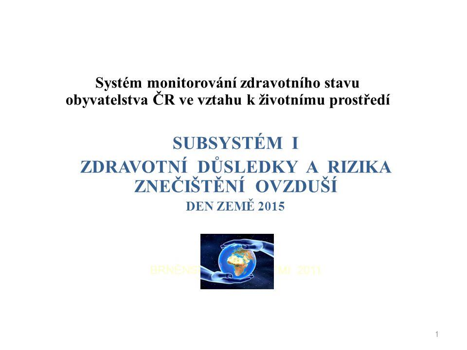 Systém monitorování zdravotního stavu obyvatelstva ČR ve vztahu k životnímu prostředí SUBSYSTÉM I ZDRAVOTNÍ DŮSLEDKY A RIZIKA ZNEČIŠTĚNÍ OVZDUŠÍ DEN Z