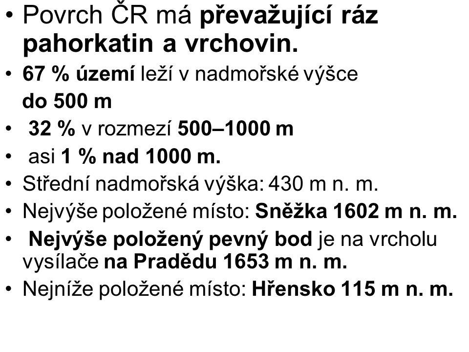 Povrch ČR má převažující ráz pahorkatin a vrchovin. 67 % území leží v nadmořské výšce do 500 m 32 % v rozmezí 500–1000 m asi 1 % nad 1000 m. Střední n
