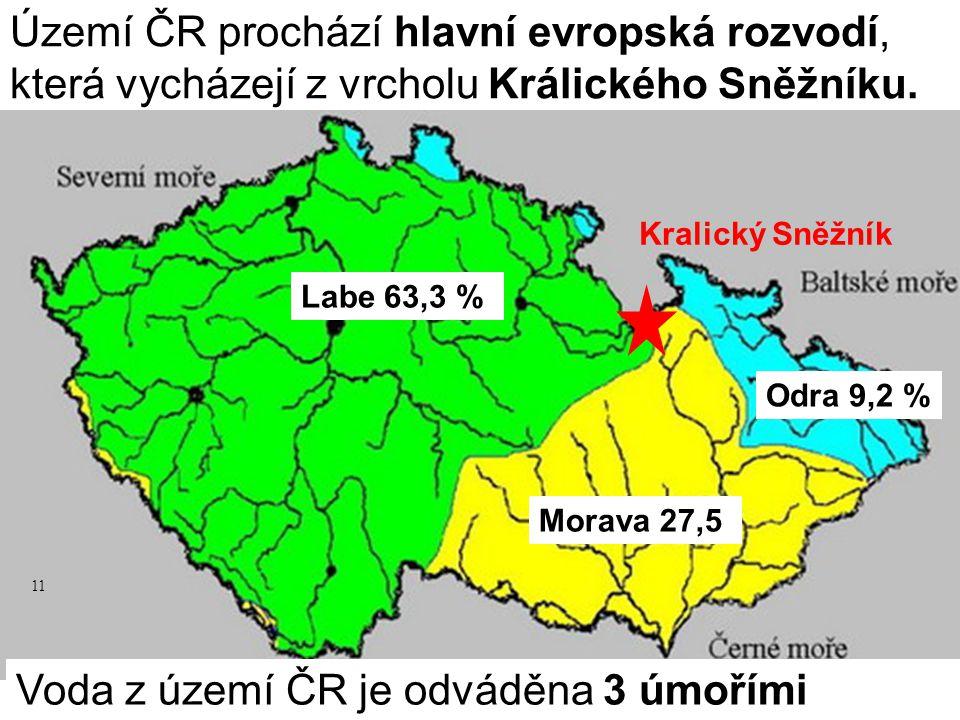 Území ČR prochází hlavní evropská rozvodí, která vycházejí z vrcholu Králického Sněžníku. Voda z území ČR je odváděna 3 úmořími Labe 63,3 % Morava 27,