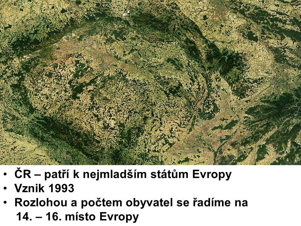 4 ČR – patří k nejmladším státům Evropy Vznik 1993 Rozlohou a počtem obyvatel se řadíme na 14. – 16. místo Evropy