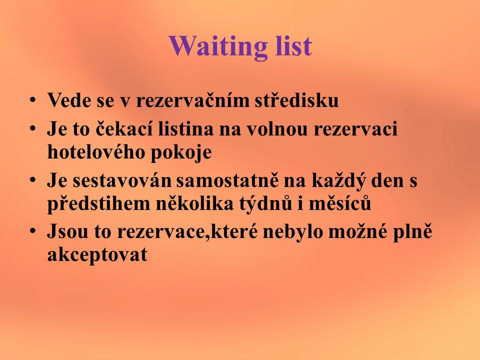 Waiting list Vede se v rezervačním středisku Je to čekací listina na volnou rezervaci hotelového pokoje Je sestavován samostatně na každý den s předstihem několika týdnů i měsíců Jsou to rezervace,které nebylo možné plně akceptovat