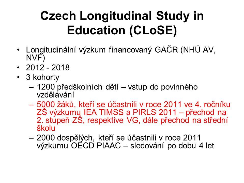 Czech Longitudinal Study in Education (CLoSE) Longitudinální výzkum financovaný GAČR (NHÚ AV, NVF) 2012 - 2018 3 kohorty –1200 předškolních dětí – vstup do povinného vzdělávání –5000 žáků, kteří se účastnili v roce 2011 ve 4.