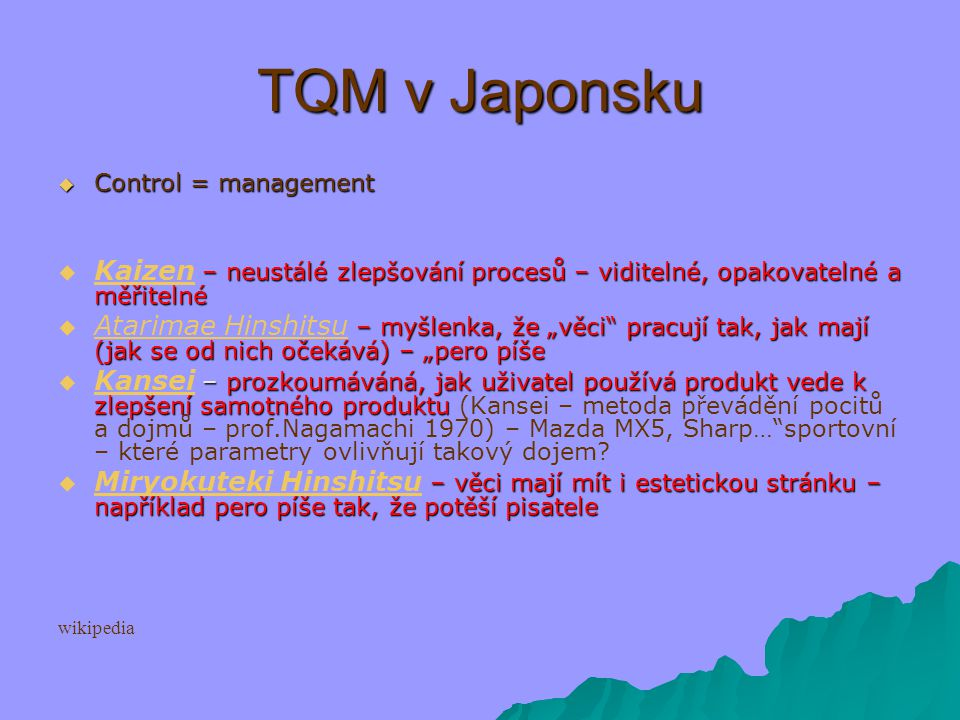 Deming prize committee:   TQM is a set of systematic activities carried out by the entire organization to effectively and efficiently achieve company objectives so as to provide products and services with a level of quality that satisfies customers, at the appropriate time and price.