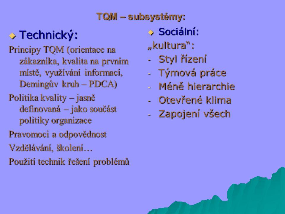 """TQM – subsystémy:  Technický: Principy TQM (orientace na zákazníka, kvalita na prvním místě, využívání informací, Demingův kruh – PDCA) Politika kvality – jasně definovaná – jako součást politiky organizace Pravomoci a odpovědnost Vzdělávání, školení… Použití technik řešení problémů  Sociální: """"kultura : - Styl řízení - Týmová práce - Méně hierarchie - Otevřené klima - Zapojení všech"""