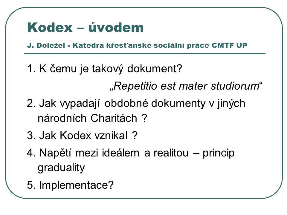 Kodex – úvodem J. Doležel - Katedra křesťanské sociální práce CMTF UP 1.