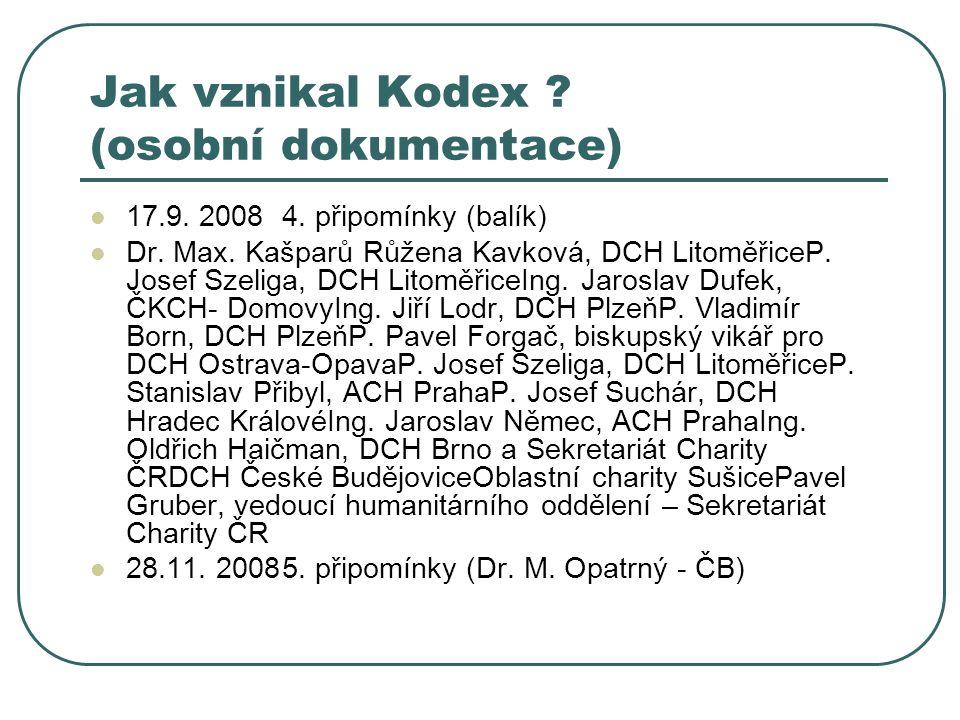Jak vznikal Kodex . (osobní dokumentace) 17.9. 2008 4.