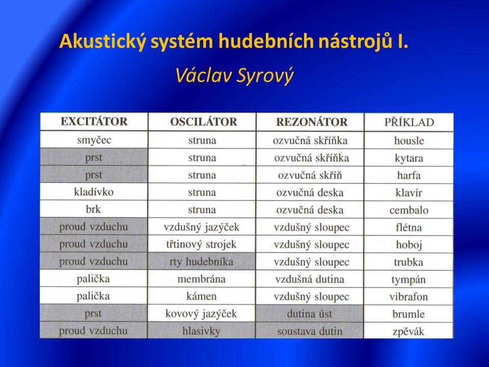 Akustický systém hudebních nástrojů I. Václav Syrový