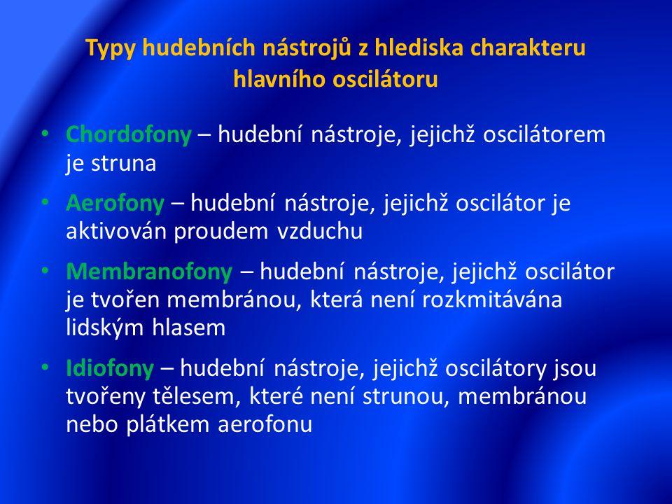 Typy hudebních nástrojů z hlediska charakteru hlavního oscilátoru Chordofony – hudební nástroje, jejichž oscilátorem je struna Aerofony – hudební nástroje, jejichž oscilátor je aktivován proudem vzduchu Membranofony – hudební nástroje, jejichž oscilátor je tvořen membránou, která není rozkmitávána lidským hlasem Idiofony – hudební nástroje, jejichž oscilátory jsou tvořeny tělesem, které není strunou, membránou nebo plátkem aerofonu