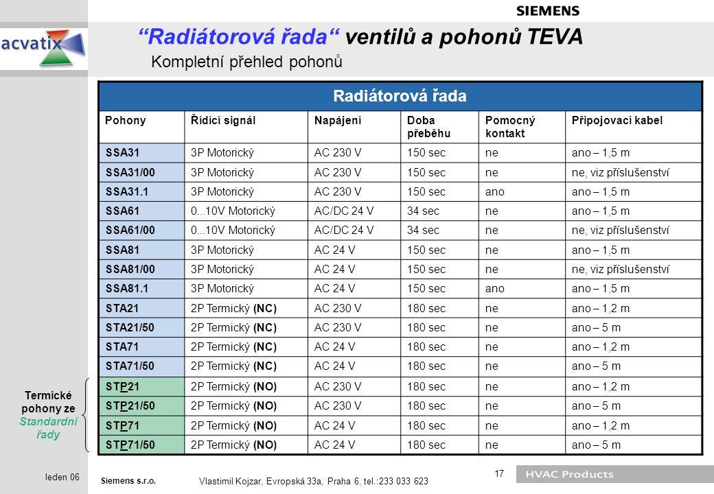 """Siemens s.r.o. Vlastimil Kojzar, Evropská 33a, Praha 6, tel.:233 033 623 17 leden 06 """"Radiátorová řada"""" ventilů a pohonů TEVA Kompletní přehled pohonů"""
