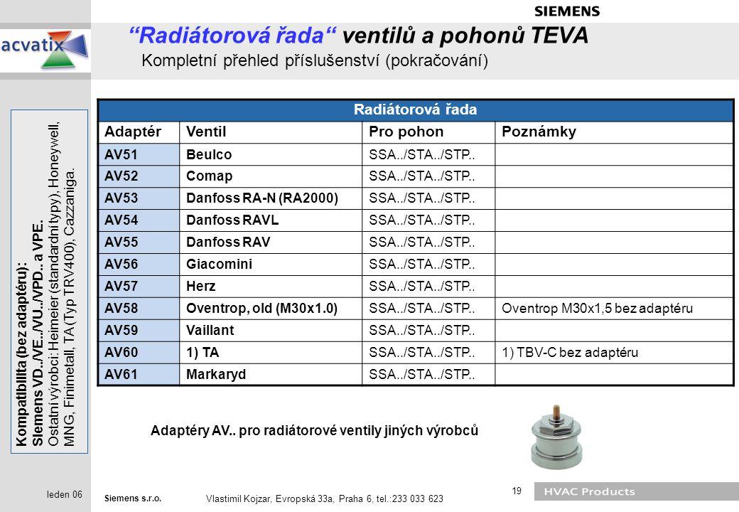 """Siemens s.r.o. Vlastimil Kojzar, Evropská 33a, Praha 6, tel.:233 033 623 19 leden 06 """"Radiátorová řada"""" ventilů a pohonů TEVA Kompletní přehled příslu"""