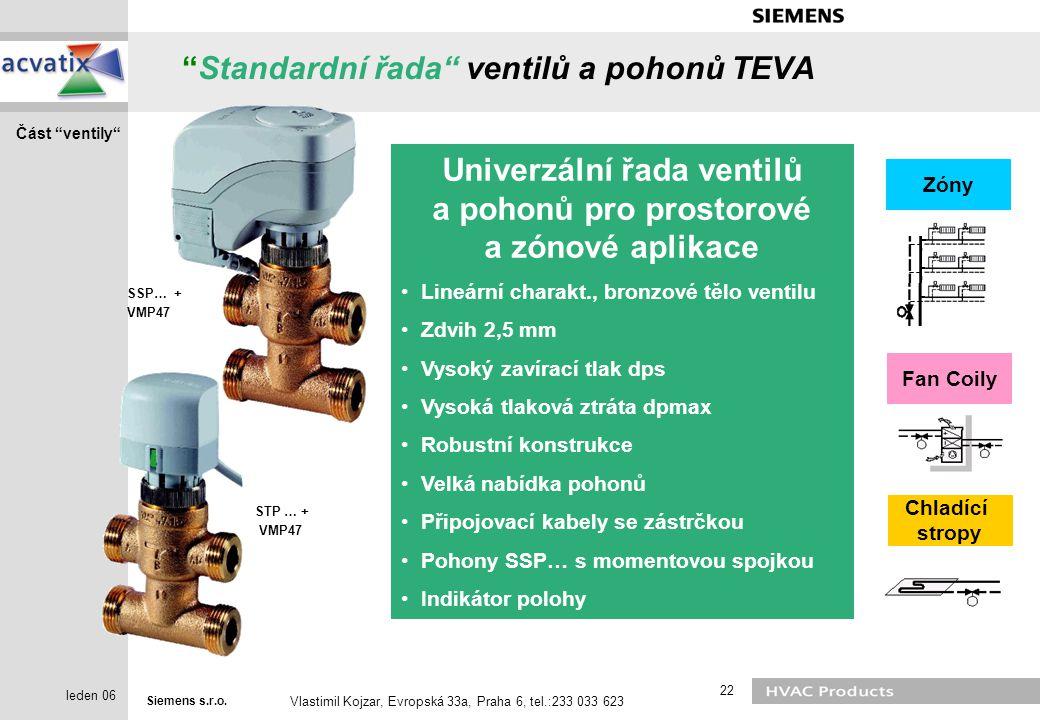 """Siemens s.r.o. Vlastimil Kojzar, Evropská 33a, Praha 6, tel.:233 033 623 22 leden 06 """"Standardní řada"""" ventilů a pohonů TEVA Fan Coily Chladící stropy"""