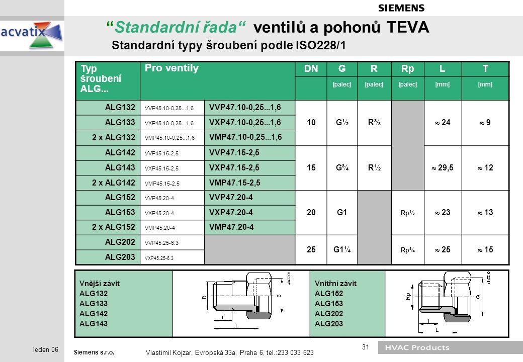 """Siemens s.r.o. Vlastimil Kojzar, Evropská 33a, Praha 6, tel.:233 033 623 31 leden 06 """"Standardní řada"""" ventilů a pohonů TEVA Standardní typy šroubení"""