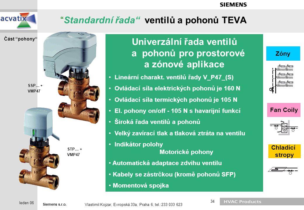 """Siemens s.r.o. Vlastimil Kojzar, Evropská 33a, Praha 6, tel.:233 033 623 34 leden 06 """"Standardní řada"""" ventilů a pohonů TEVA Fan Coily Chladící stropy"""