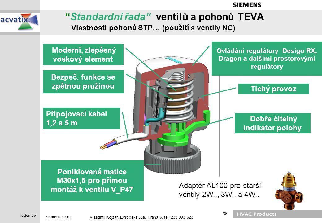 """Siemens s.r.o. Vlastimil Kojzar, Evropská 33a, Praha 6, tel.:233 033 623 36 leden 06 """"Standardní řada"""" ventilů a pohonů TEVA Vlastnosti pohonů STP… (p"""