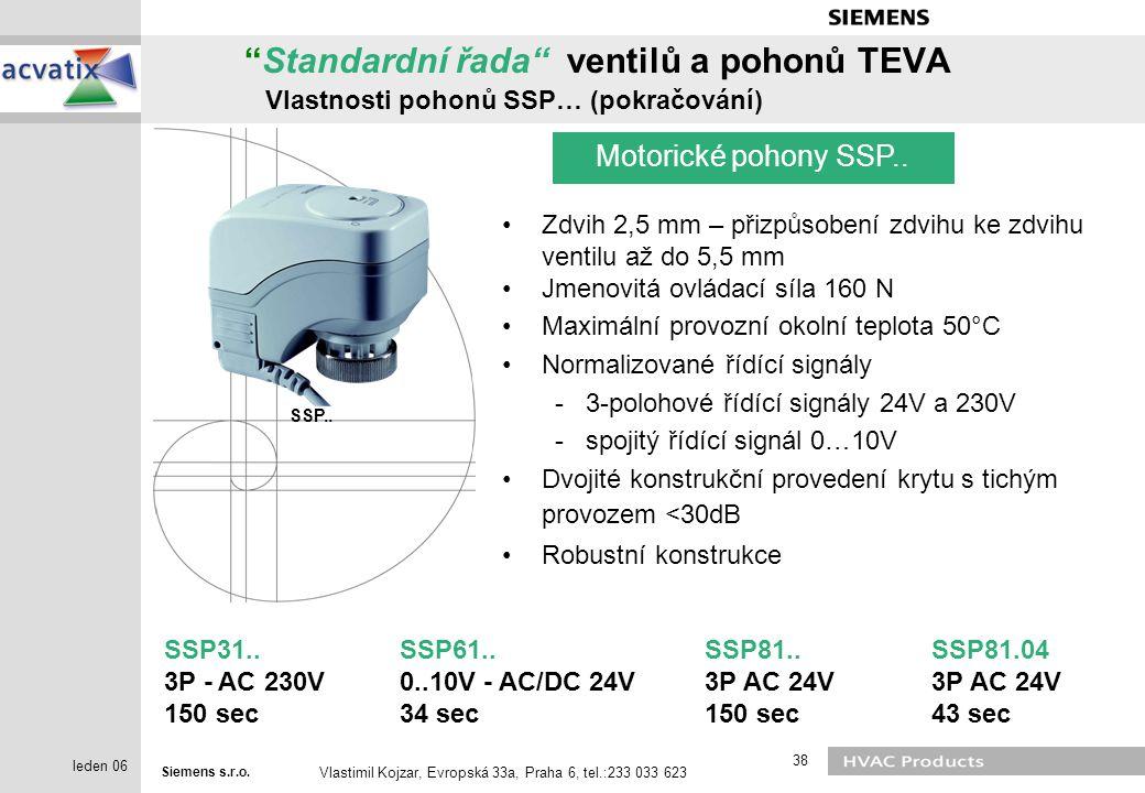 """Siemens s.r.o. Vlastimil Kojzar, Evropská 33a, Praha 6, tel.:233 033 623 38 leden 06 """"Standardní řada"""" ventilů a pohonů TEVA Vlastnosti pohonů SSP… (p"""