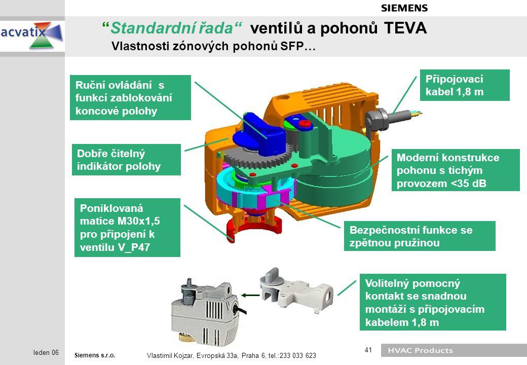 "Siemens s.r.o. Vlastimil Kojzar, Evropská 33a, Praha 6, tel.:233 033 623 41 leden 06 ""Standardní řada"" ventilů a pohonů TEVA Vlastnosti zónových pohon"