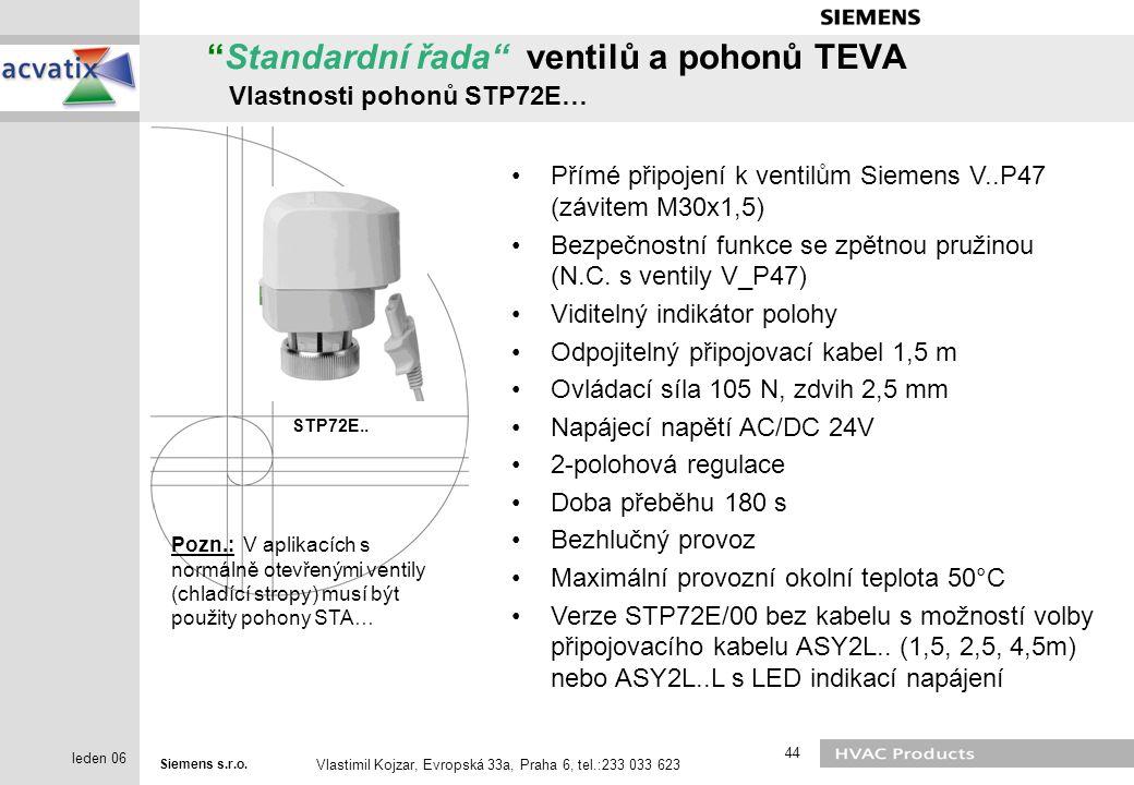 """Siemens s.r.o. Vlastimil Kojzar, Evropská 33a, Praha 6, tel.:233 033 623 44 leden 06 """"Standardní řada"""" ventilů a pohonů TEVA Vlastnosti pohonů STP72E…"""