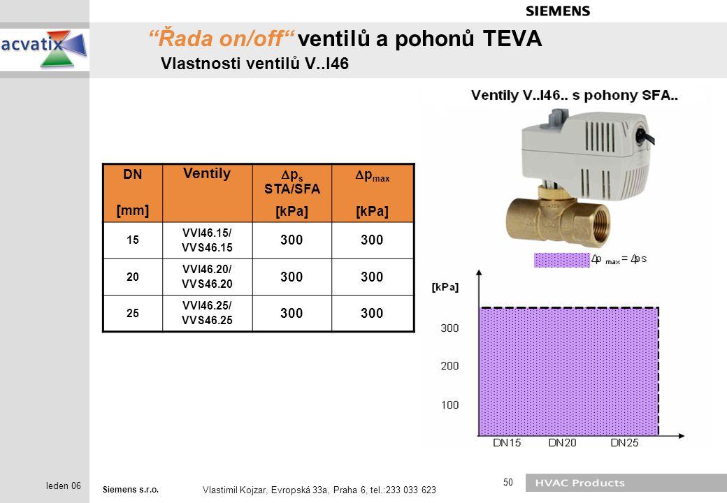 """Siemens s.r.o. Vlastimil Kojzar, Evropská 33a, Praha 6, tel.:233 033 623 50 leden 06 """"Řada on/off"""" ventilů a pohonů TEVA Vlastnosti ventilů V..I46 DN"""