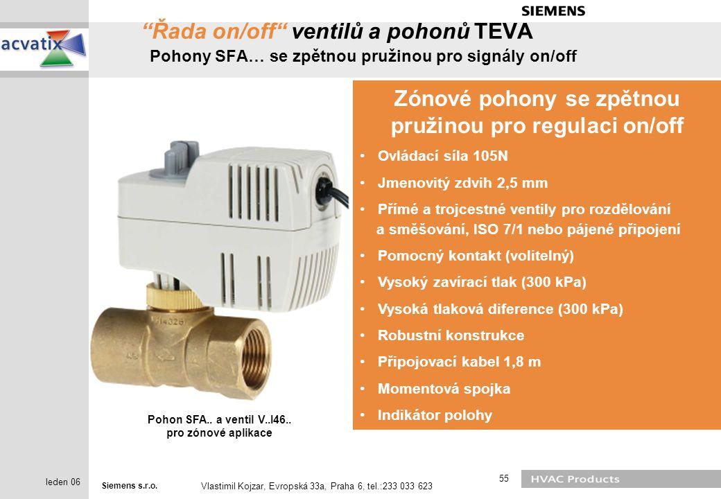 """Siemens s.r.o. Vlastimil Kojzar, Evropská 33a, Praha 6, tel.:233 033 623 55 leden 06 """"Řada on/off"""" ventilů a pohonů TEVA Pohony SFA… se zpětnou pružin"""