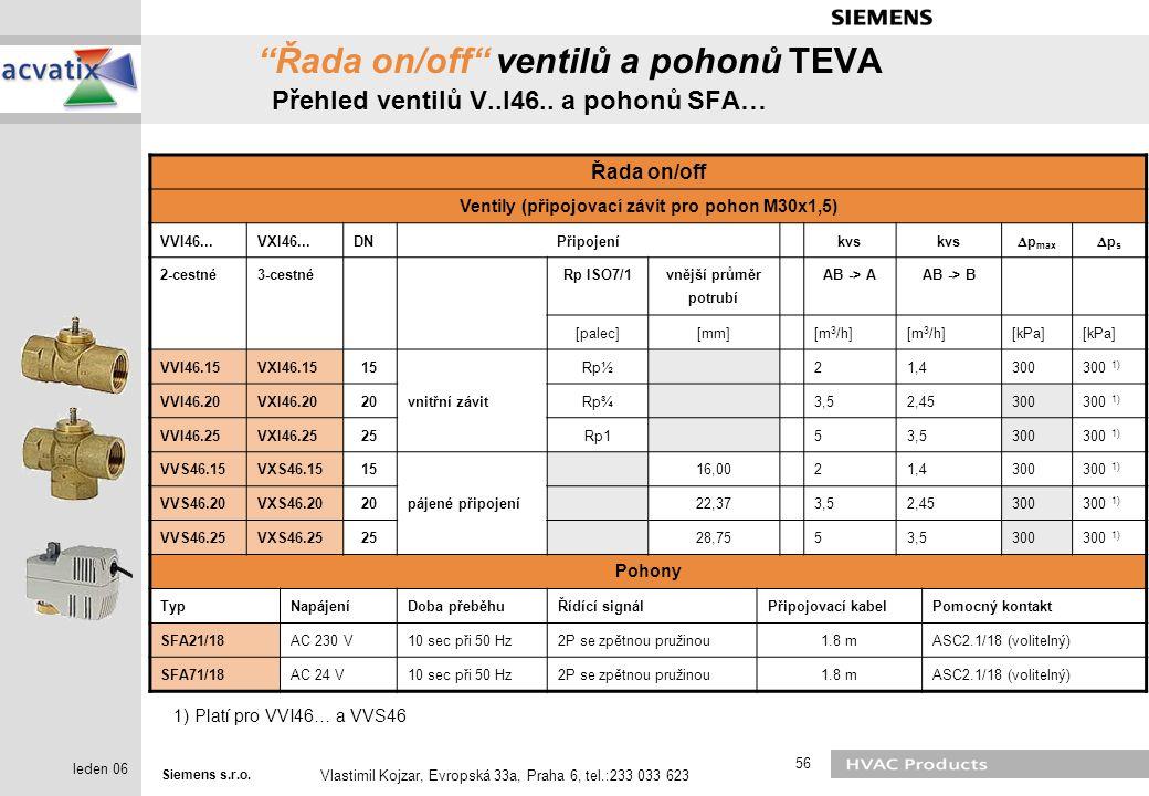 """Siemens s.r.o. Vlastimil Kojzar, Evropská 33a, Praha 6, tel.:233 033 623 56 leden 06 """"Řada on/off"""" ventilů a pohonů TEVA Přehled ventilů V..I46.. a po"""
