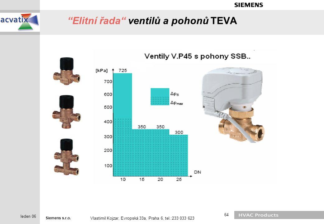 "Siemens s.r.o. Vlastimil Kojzar, Evropská 33a, Praha 6, tel.:233 033 623 64 leden 06 ""Elitní řada"" ventilů a pohonů TEVA"