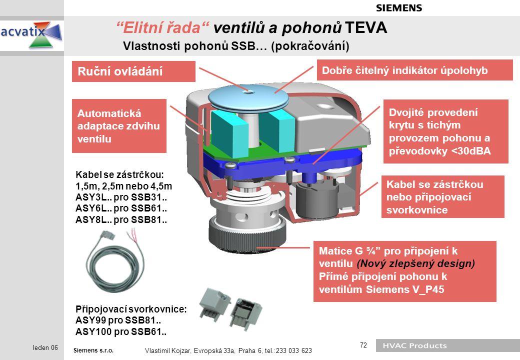 Siemens s.r.o. Vlastimil Kojzar, Evropská 33a, Praha 6, tel.:233 033 623 72 leden 06 Kabel se zástrčkou: 1,5m, 2,5m nebo 4,5m ASY3L.. pro SSB31.. ASY6