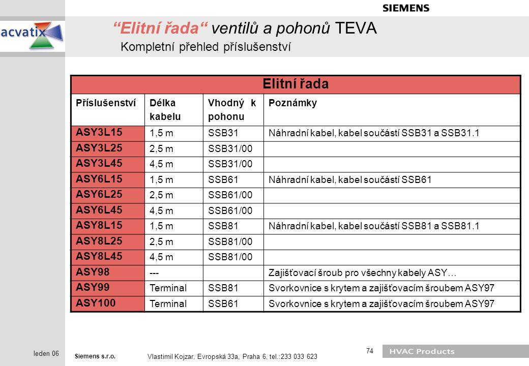 """Siemens s.r.o. Vlastimil Kojzar, Evropská 33a, Praha 6, tel.:233 033 623 74 leden 06 """"Elitní řada"""" ventilů a pohonů TEVA Kompletní přehled příslušenst"""