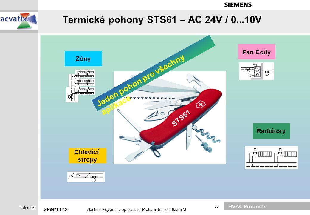 Siemens s.r.o. Vlastimil Kojzar, Evropská 33a, Praha 6, tel.:233 033 623 80 leden 06 STS61 Fan Coily Chladící stropy ZónyRadiátory Jeden pohon pro vše